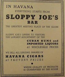 Sloppy Joes advertisement